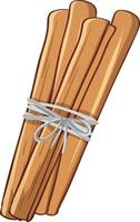 Cinnamon sticks tied with a rope in cartoon style isolated vector