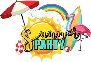 Summer Party text with flamingo and beach items isolated vector