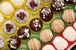 Fotografía macro de tortas de chocolate foto