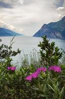 View of famous Lake Garda on a cloudy day from viewpoint in protected biotope area at Monte Brione, situated near city Riva del garda and Torbole, Italy photo