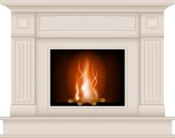 isolated white elegant fireplace vector