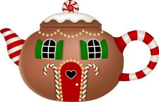 Christmas house in shape of teapot vector
