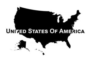 Vector of USA map . Silhouette .