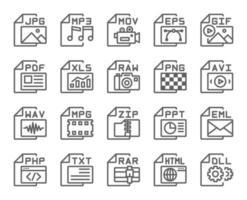 conjunto de iconos de contorno de tipo de formato de archivo. trazo editable. 48 x 48 píxeles perfectos. vector