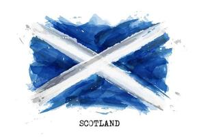Realistic watercolor painting flag of Scotland . Vector .
