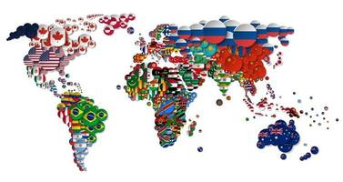 World map and all national circle country flags . 3D design . Creative concept . Vector .