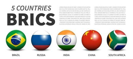 BRICS . association of 5 countries . Banner 3D sphere ball design . White isolated background . Vector .
