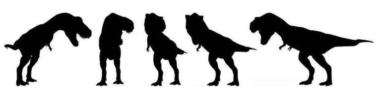 Tyrannosaurus rex  T-rex  is walking and snarling . Silhouette design . Set of various dinosaur posture . Vector .