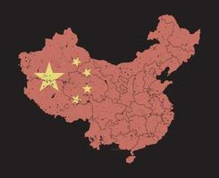China map with flag pattern and province region and grunge dust particle element on map . High detailed . Flat color . Vector .