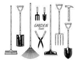 Sketch vector set of gardening tools. Broom, Spade, Fan rake, Fork, Trowel, Hedge shears, Bow Rake, Pitch fork, Hammer and Shovel Hand drawn illustration