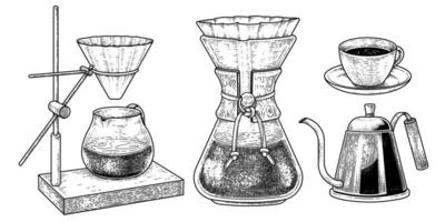 Sketch vector set of coffee maker tools. Dripper Pour-over, Filter drip coffee maker, Drip Kettle and cup of coffee Hand drawn illustration