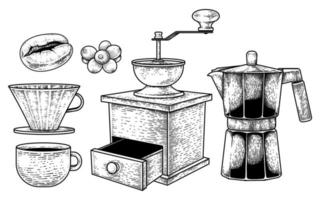 Sketch vector set of coffee maker tools. Coffee bean, berries, Dripper Pour-over, A cup, Manual Coffee Grinder and Espresso or Moka pot Hand drawn illustration