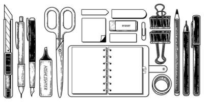 Vintage Stationery elements Collection Hand drawn Sketch Illustration. Notebook,Post it,Paper clip,Scissors,Pencil,Pen,Rubber,Tape,Highlighter pen and Cutter Vector