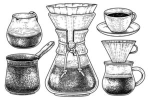 Sketch vector set of coffee maker tools. A glass, turkish coffee pot, Filter drip coffee maker, cup of coffee, and Dripper Pour-over Hand drawn illustration