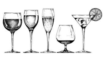 Vector set of glasses goblets