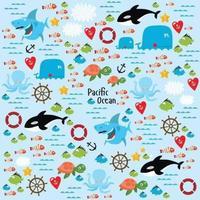 Pacific ocean vector illustration