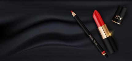 3D Realistic Red Lipstick and Pencil on Black Silk Design Template of Fashion Cosmetics Product for Ads, flyer, banner or Magazine Background. Vector Iillustration