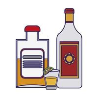 Tequila bottles and shot with lemon vector