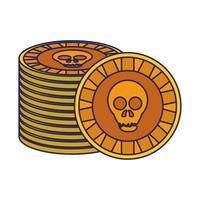 Mexican skull coin symbol vector