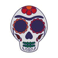 Mexican skull symbol cartoon vector