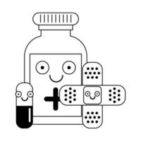 Medical healthcare cartoons in black and white vector