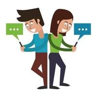 couple with cellphone and speech bubble vector