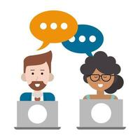 couple with speech bubble and laptops vector