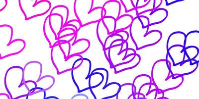 Light Pink Blue vector backdrop with sweet hearts