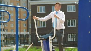 Businessman on The Outside Exercise Area video