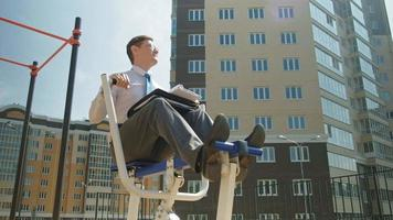 Businessman Working out In a Outside Exercise Area video