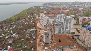 Construction of a residential high rise building. Aerial shooting from the drone video
