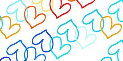 Light Blue Red vector background with Shining hearts