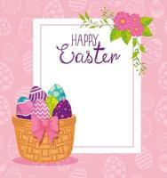 tarjeta de pascua feliz con huevos decorados vector