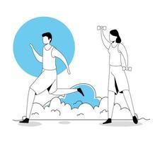 hombre corriendo y mujer con mancuernas vector