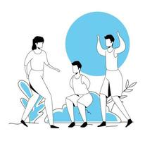 group people practicing exercise avatar character vector