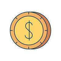 coin money dollar isolated icon vector