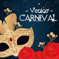 poster of venice carnival and mask and decoration vector