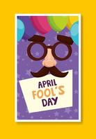 april fools day with crazy mask and decoration vector