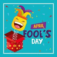 april fools day with surprise box vector