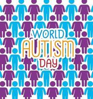 world autism day with background of people silhouettes vector