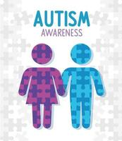 world autism day with silhouettes people vector