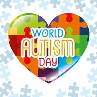 día mundial del autismo con corazón de piezas de rompecabezas vector
