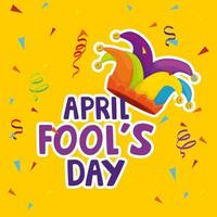 april fools day with hat buffoon vector