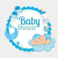 Tarjeta de Baby Shower con lindo niño y decoración. vector