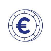 Moneda dinero euro icono aislado vector