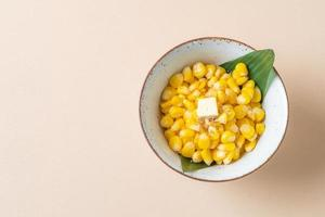 Sweet buttered corn in bowl photo