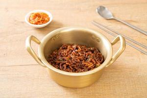 Korean black spaghetti or instant noodle with roasted chajung sauce photo