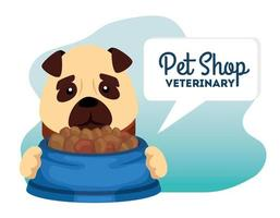 pet shop veterinary with little dog and food dish vector