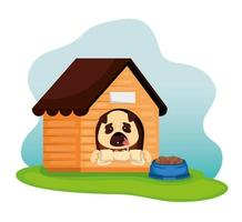little dog with wooden house and dish food vector
