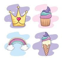 collection of sweet and fantasy icons vector